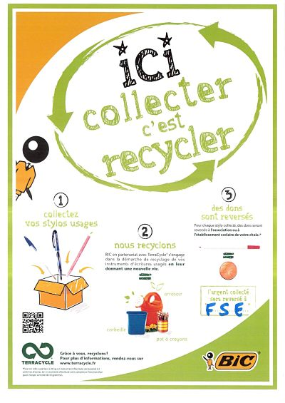 affiche recyclage stylos